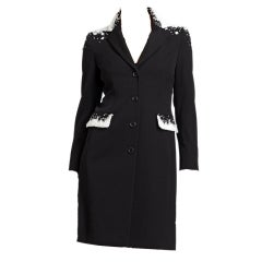 Moschino Black Embellished Wool Coat