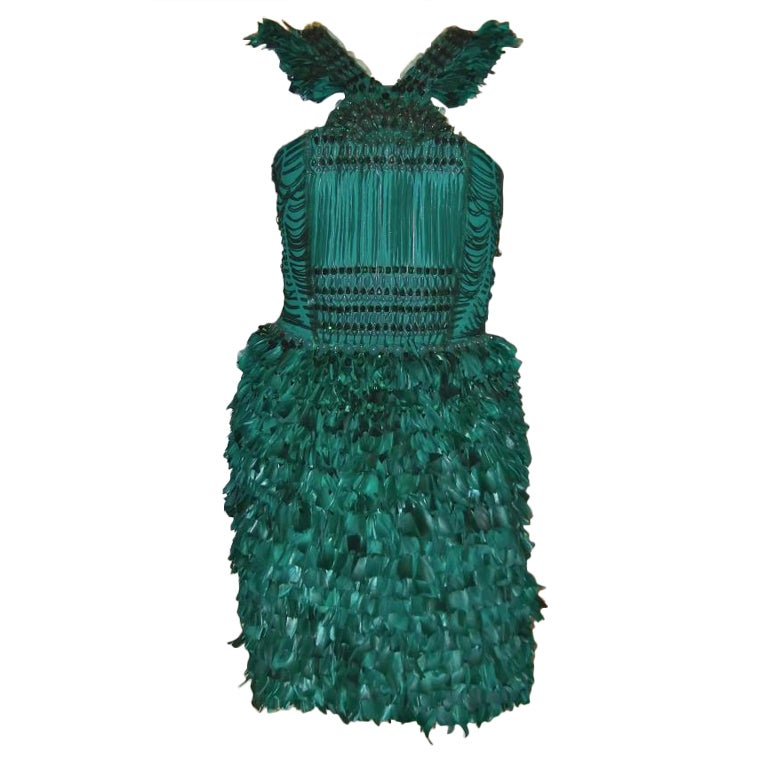 New GUCCI GREEN FEATHER DRESS 1