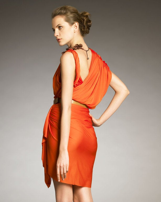 Red Gwyneth's hot LANVIN Orange Draped Faux-wrap Dress For Sale