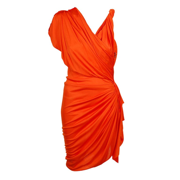 Gwyneth's hot LANVIN Orange Draped Faux-wrap Dress For Sale