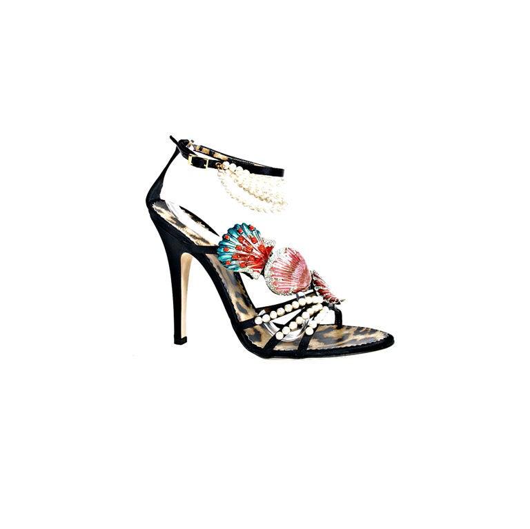 Roberto Cavalli Black Shoes with Enamel Sheashells and Pearls 40