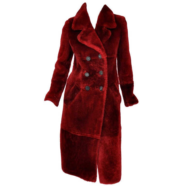 Tom Ford for Gucci Burgundy Shearling Coat 1