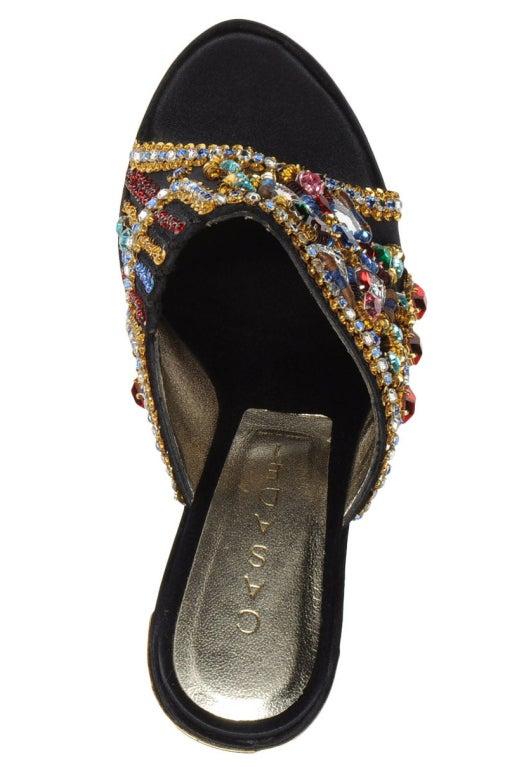 Casadei crystal embellished platform sandals.