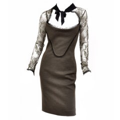 EMILIO PUCCI FITTED DRESS with LACE COLLAR and SLEEVES