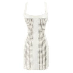 $12,125 VERSACE WHITE LEATHER MINI DRESS w/ METAL ***STARS LOVE!