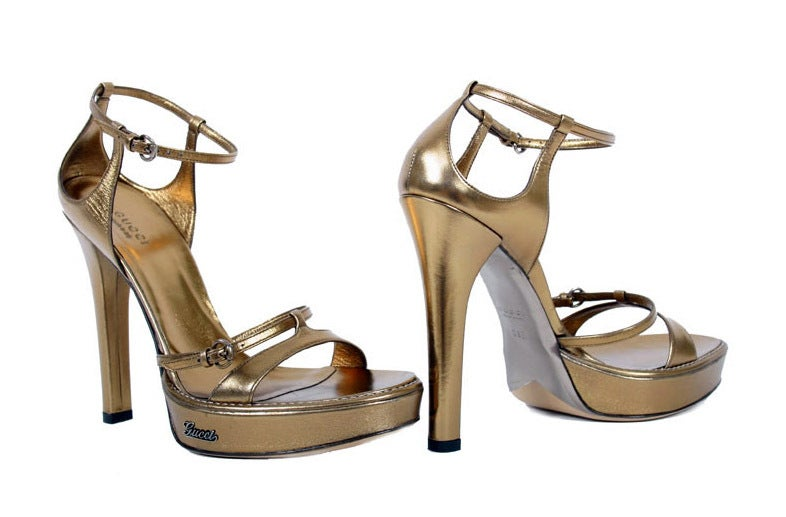 912d84ffdb7c New GUCCI METALLIC BRONZE LEATHER PLATFORM SANDALS For Sale at 1stdibs