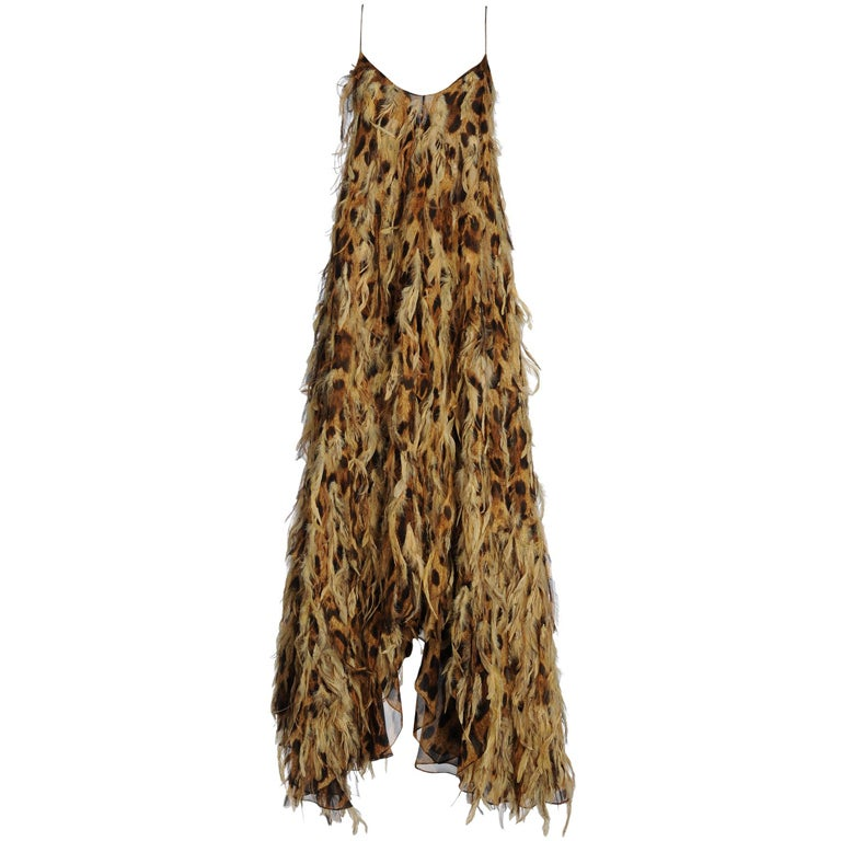 $13,000 Michael Kors Leopard Chiffon Gown with Feathers
