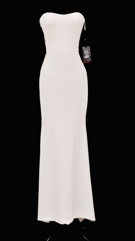 Gianni Versace Couture Beaded White Gown  IT Size 40  100% silk is finished with nude beaded tulle and inner corset.  Brand New with tags.