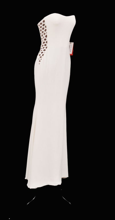 Gray Vintage Gianni Versace Couture Beaded Silk and Tulle White Gown For Sale