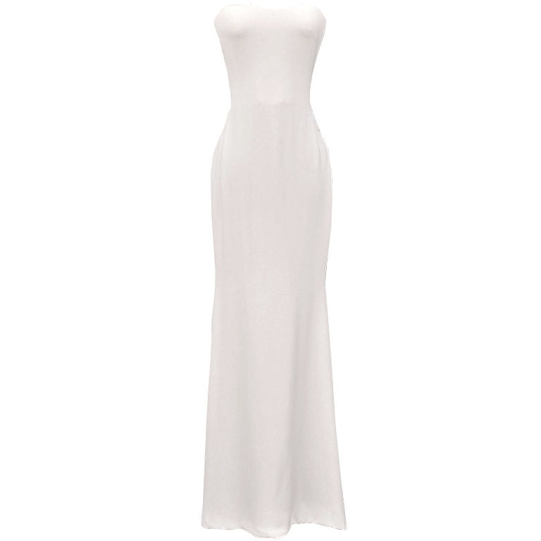 Vintage Gianni Versace Couture Beaded Silk and Tulle White Gown For Sale
