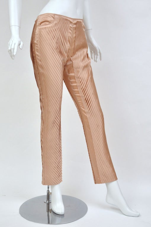 S/S 2004 GUCCI by TOM FORD NUDE SILK PANTS 2