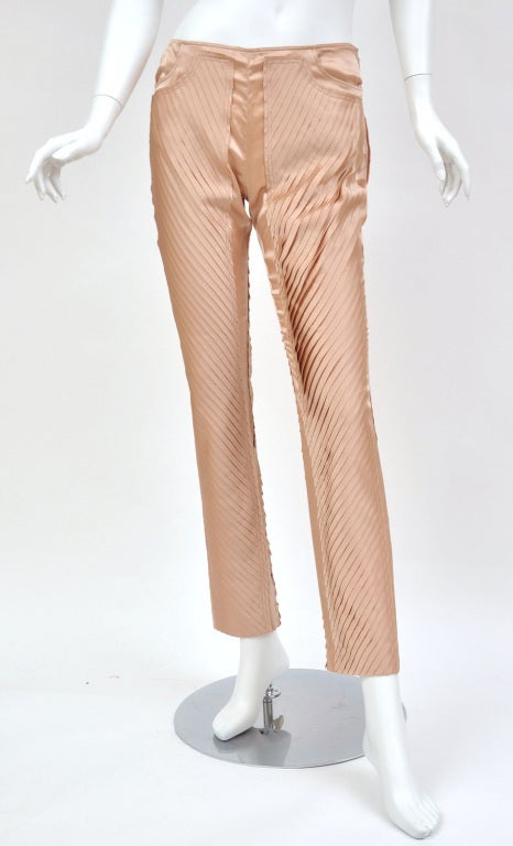 S/S 2004 GUCCI by TOM FORD NUDE SILK PANTS 3