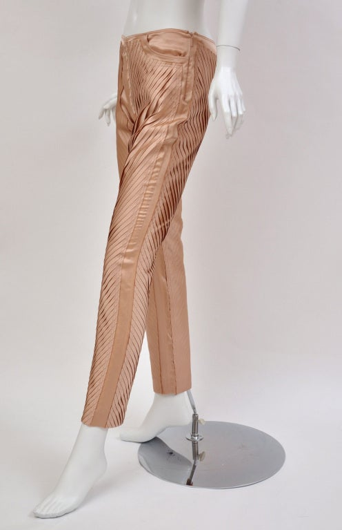 S/S 2004 GUCCI by TOM FORD NUDE SILK PANTS 4