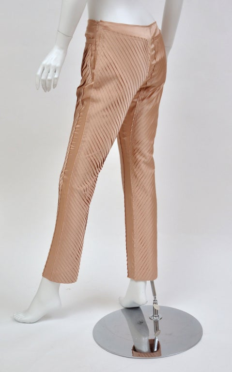 S/S 2004 GUCCI by TOM FORD NUDE SILK PANTS 5
