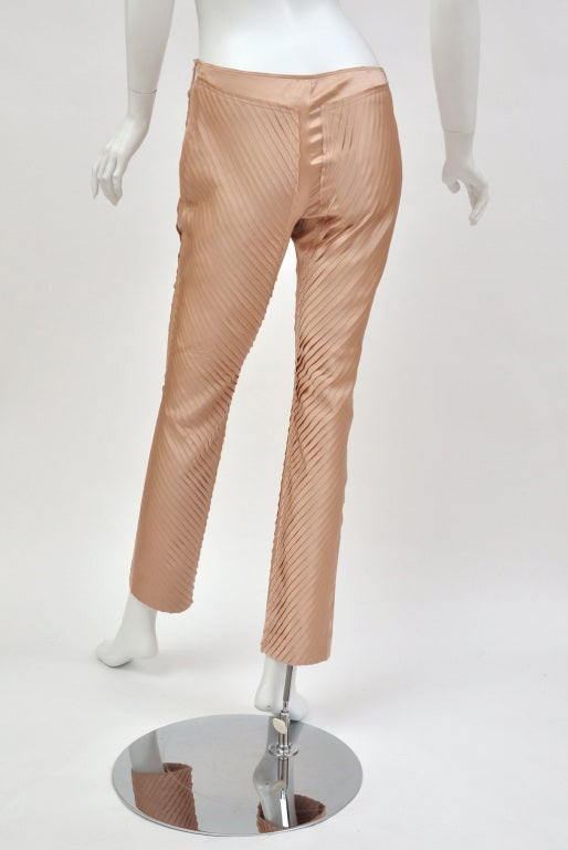 S/S 2004 GUCCI by TOM FORD NUDE SILK PANTS 6