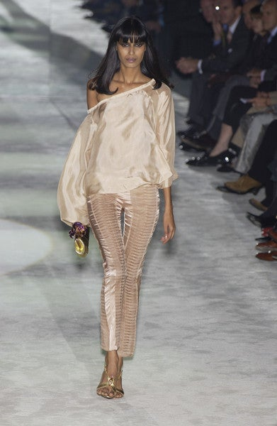 S/S 2004 GUCCI by TOM FORD NUDE SILK PANTS 7