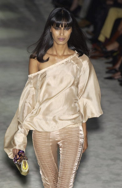 S/S 2004 GUCCI by TOM FORD NUDE SILK PANTS 8