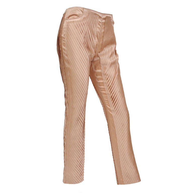 S/S 2004 GUCCI by TOM FORD NUDE SILK PANTS 1