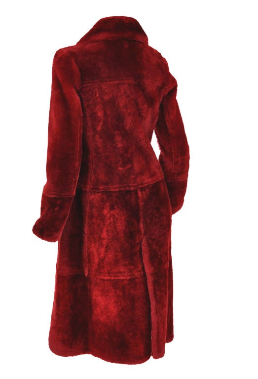 Tom Ford for Gucci Burgundy Shearling Coat 2