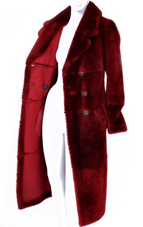 Tom Ford for Gucci Burgundy Shearling Coat 3