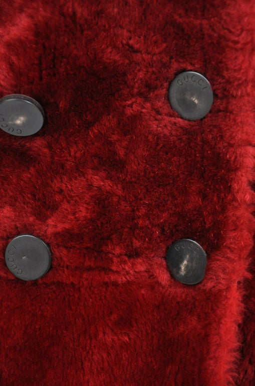 Tom Ford for Gucci Burgundy Shearling Coat 4