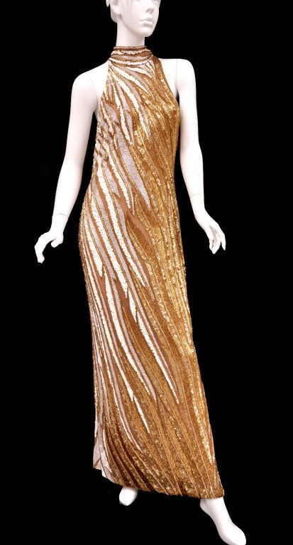 Bob Mackie Gold Beaded Gown 2
