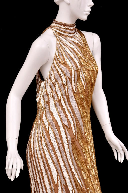 Bob Mackie Gold Beaded Gown 4