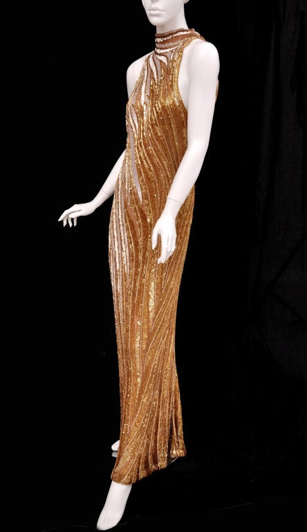 Bob Mackie Gold Beaded Gown 5
