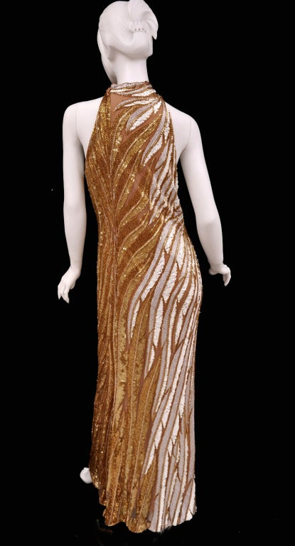 Bob Mackie Gold Beaded Gown 6
