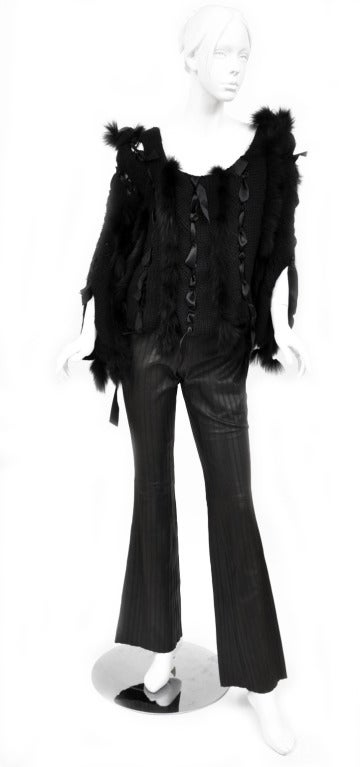 ICONIC TOM FORD for GUCCI BLACK SWEATER  w/RIBBONS & FOX FUR 2