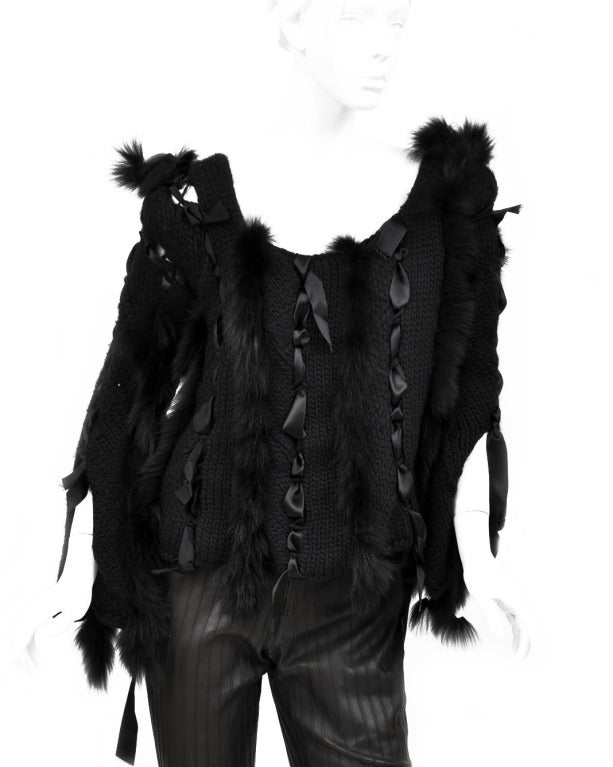 ICONIC TOM FORD for GUCCI BLACK SWEATER  w/RIBBONS & FOX FUR 3