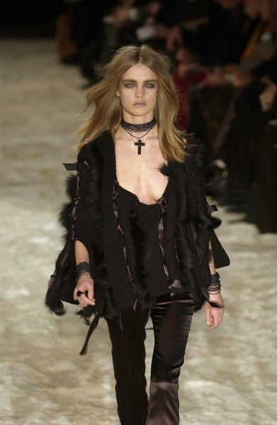 ICONIC TOM FORD for GUCCI BLACK SWEATER  w/RIBBONS & FOX FUR 4