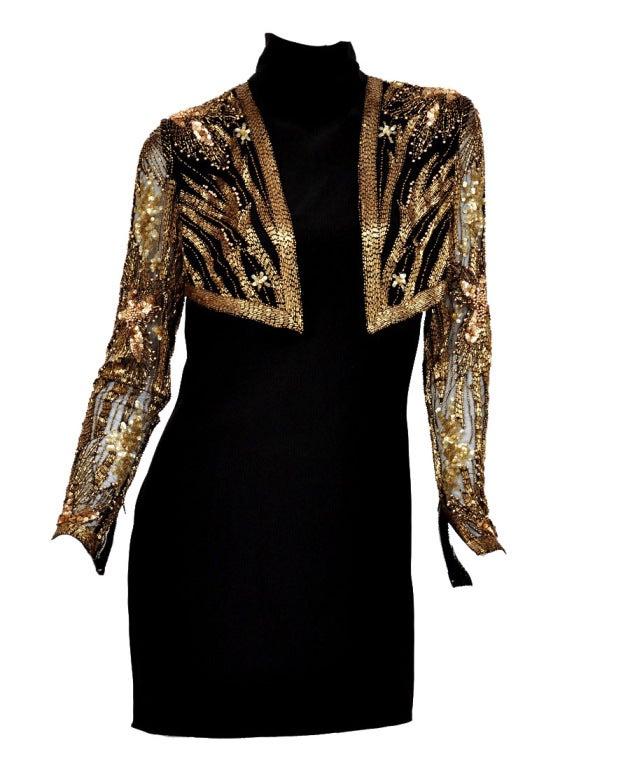 80-s Bob Mackie Beaded Bolero Dress  Color: Black/Gold  Condition: Excellent
