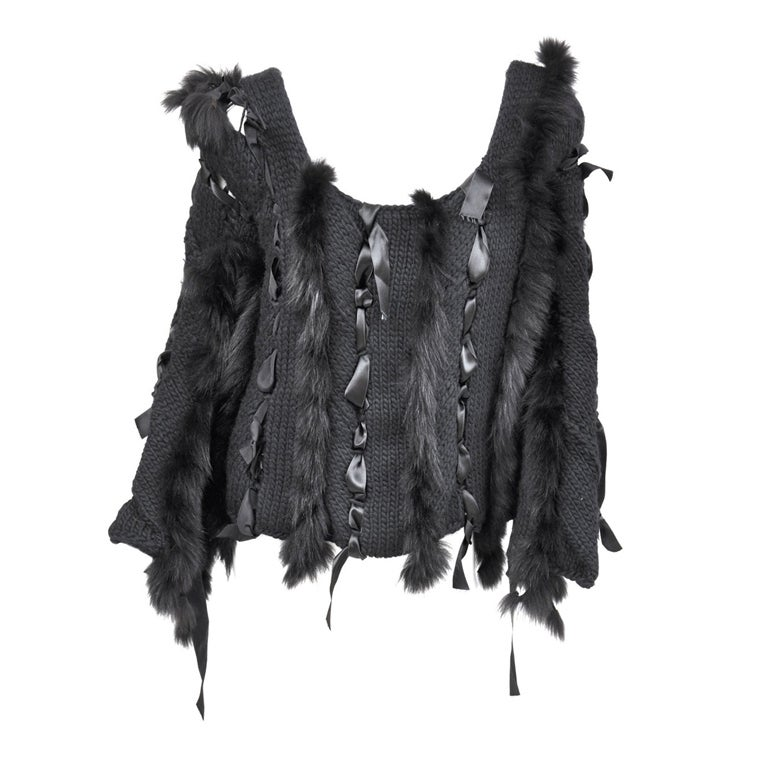 ICONIC TOM FORD for GUCCI BLACK SWEATER  w/RIBBONS & FOX FUR 1