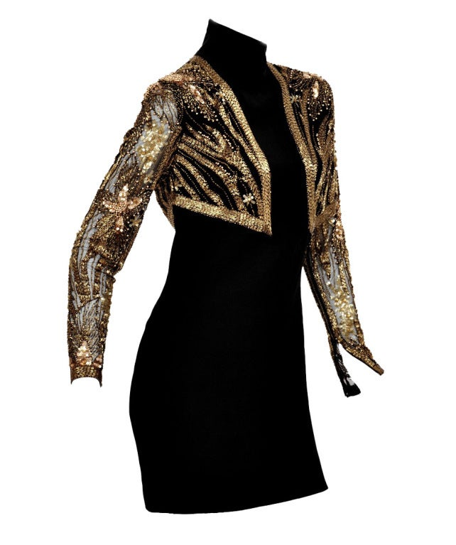 80-s Bob Mackie Beaded Bolero Dress In Excellent Condition For Sale In Montgomery, TX