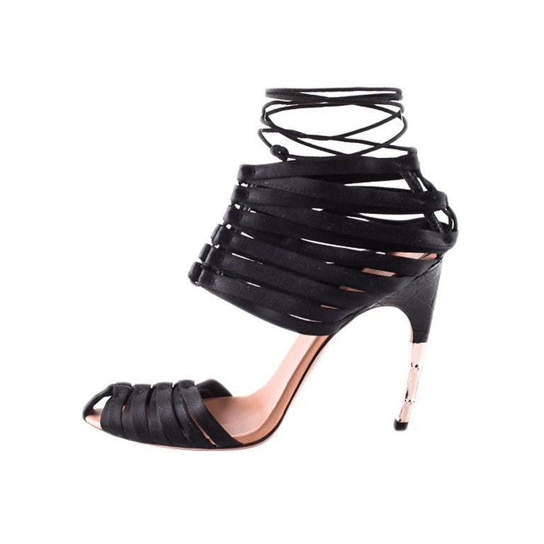 Brand New Tom Ford For Gucci Black Satin Corset Shoes At