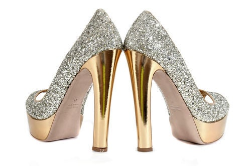 "MIU MIU INFAMOUS ""GLITTER OF PYRITE"" PLATFORM SHOES 3"