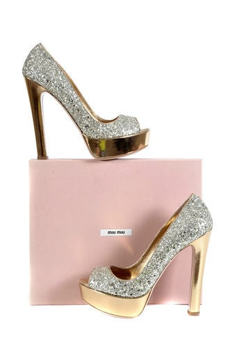 "MIU MIU INFAMOUS ""GLITTER OF PYRITE"" PLATFORM SHOES 4"