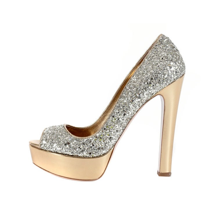 "MIU MIU INFAMOUS ""GLITTER OF PYRITE"" PLATFORM SHOES 1"
