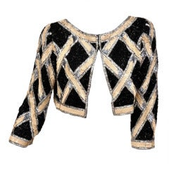80's Bob Mackie Sequin Beaded Cropped Jacket