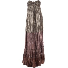 LANVIN METALLIC STRAPLESS GOWN