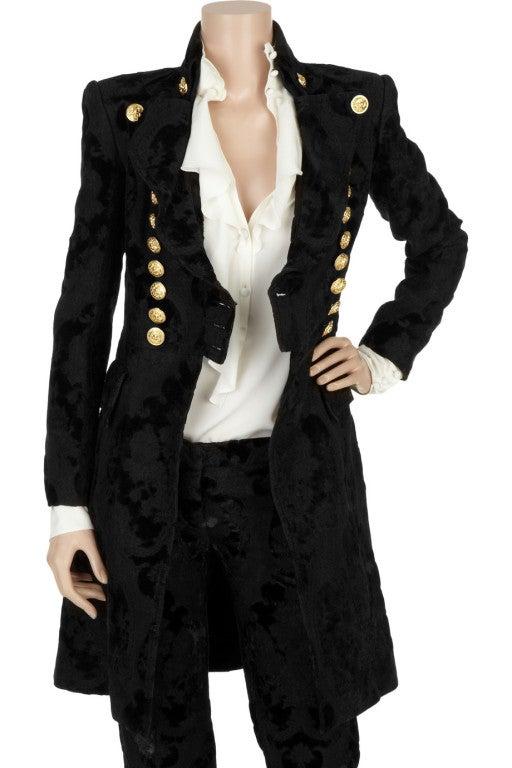 BALMAIN Black Brocade military coat 2