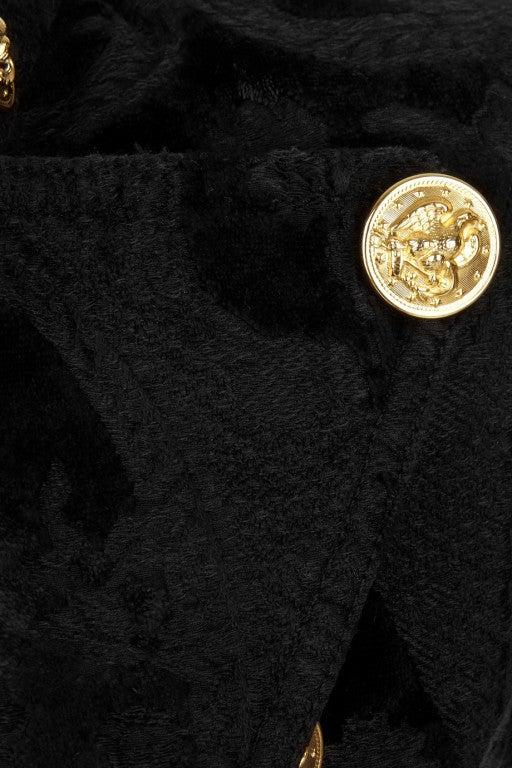 BALMAIN Black Brocade military coat 4