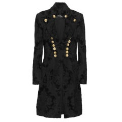 BALMAIN Black Brocade military coat