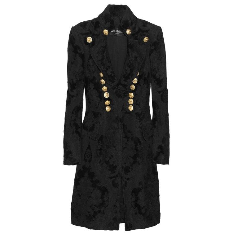 BALMAIN Black Brocade military coat 1