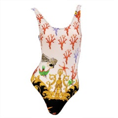 1992 GIANNI VERSACE ICONIC STARFISH and CORAL PRINT SWIMSUIT