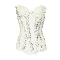 $9,500 BALMAIN Pin Embellished white leather bustier