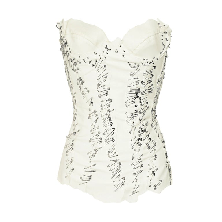 $9,500 BALMAIN Pin Embellished white leather bustier 1