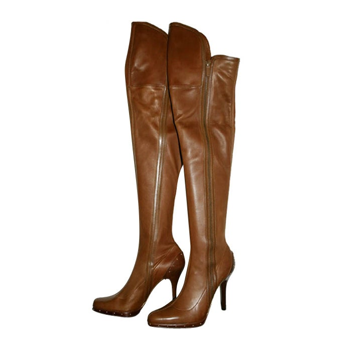 NEW GUCCI TOM FORD BROWN OVER THE KNEE PLATFORM BOOTS For Sale