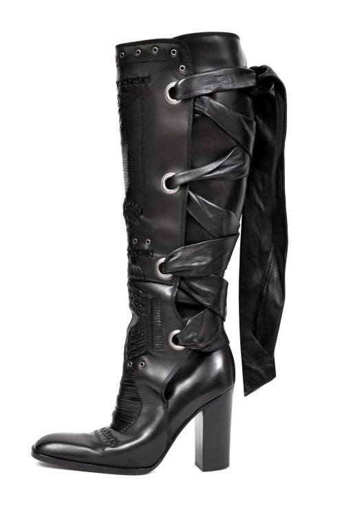 F/W 2001 TOM FORD for YVES SAINT LAURENT BLACK LEATHER BOOTS 35.5 3